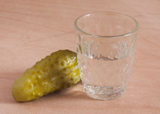 Vodka and cucumber Stock Image