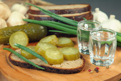 Vodka with cucumber Royalty Free Stock Photography
