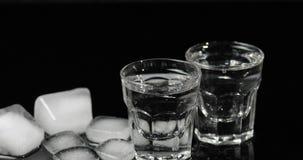 Vodka dans des verres à liqueur avec des glaçons placés sur un fond noir photographie stock