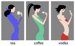 Vodka del café del té Foto de archivo libre de regalías