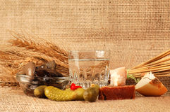 Vodka drink display. Glass of vodka near a variety of vegetables and grain.  Burlap background Stock Photography