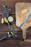 Vodka drinks with lemon and lime Royalty Free Stock Photo