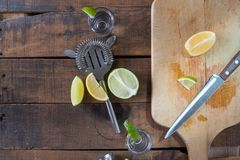 Vodka drinks with lemon and lime Stock Photography