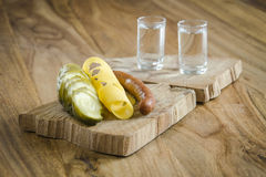 Vodka e cetriolo marinato Fotografia Stock
