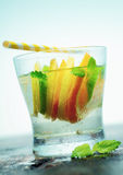 Vodka or gin with tangy citrus. Glass of refreshing iced vodka or gin with slices of tangy citrus and fresh leaves of mint served on an old wooden countertop Stock Photography