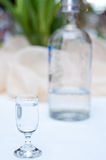 Vodka in glass. A small glass of white vodka, a blurred bottle in the background Royalty Free Stock Photo