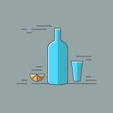 Vodka glass bottle flat design background. 8 eps Royalty Free Stock Photos