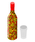 Vodka and glass. Traditional Russian alcohol. Bottle with nation. Al pattern of khokhloma Royalty Free Stock Image
