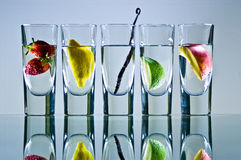 Vodka glasses with fruit royalty free stock photography