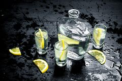 Vodka in glasses with lemon and ice. On the black chalkboard Royalty Free Stock Photos