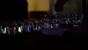 Vodka glasses at the party in night club stock video