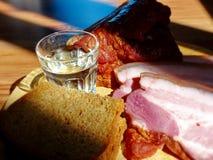Vodka i ett exponeringsglas på bakgrunden av de hemlagade aptitretarna - rökte kött, bröd Naturlig mat, aptitretare royaltyfri fotografi