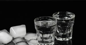 Vodka i sköt exponeringsglas med iskuber som förläggas på en svart bakgrund arkivbild