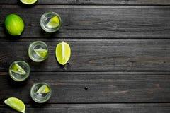 Vodka i skivor för ett skjutit exponeringsglas och limefrukt arkivbild