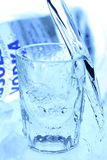 Vodka & ice. Glass with vodka and ice cubs Stock Photo