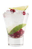 Vodka with ice, cranberries and lime. Strong alcoholic drink on a white background Stock Photography