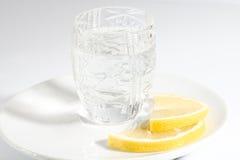 Vodka and lemon. Vodka and two slices of lemon Stock Photos