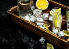 Vodka with lemon and ice on a wooden tray. On the black chalkboard Royalty Free Stock Photos