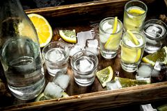 Vodka with lemon and ice on a wooden tray. Top view Stock Photography