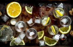 Vodka with lemon and ice on a wooden tray. Top view Royalty Free Stock Images