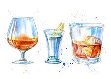 Vodka with lemon,whiskey and cognac. Picture of a alcoholic drink.Watercolor hand drawn illustration.Isolated sketch.White background vector illustration