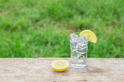 Vodka with lemon on wooden background Royalty Free Stock Image