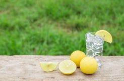 Vodka with lemon on wooden background Stock Photos