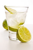 Vodka with lime and ice Royalty Free Stock Images