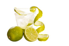 Vodka with lime and ice stock images