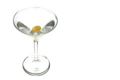 Vodka Martini. Isolated with single olive Stock Image