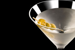 Vodka Martini. In front of a black background Royalty Free Stock Photos