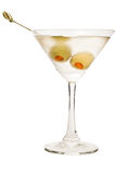 Vodka Martini. Isolated on a white background garnished with pimento stuffed olives Stock Image