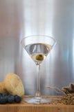 Vodka martini avec les ingrédients naturels l'entourant Photographie stock libre de droits