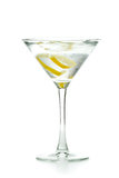 Vodka martini. Shaken served with a lemon twist on a white background Stock Image
