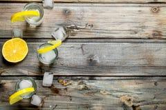 Vodka med is i sköt exponeringsglas och skivor av citronen arkivbild