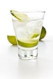 Vodka med limefrukt och is royaltyfri fotografi