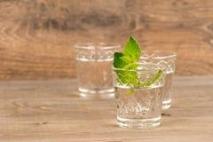 Vodka med mintkaramellen i sköt exponeringsglas på den lantliga trätabellen arkivfoto