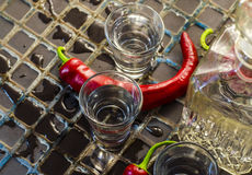 Vodka med peppar arkivfoto