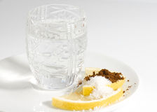Vodka and Nikolashka snack. Nikolashka is a snack that is rumoured to be invented by Russian tzar Nikolay II Stock Images
