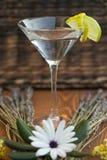 Vodka o gin martini con i fiori e la lavanda che lo circondano Fotografie Stock
