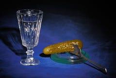 Vodka och inlagd gurka royaltyfri bild