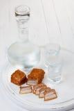 Vodka och saltat späcker Arkivbild