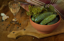 Vodka and pickles Stock Photos
