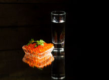 Vodka with red caviar Royalty Free Stock Photo