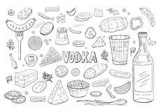 Vodka russe et différent noir et blanc d'éléments de nourriture d'isolement sur le blanc illustration stock