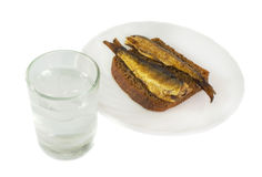 Vodka and russian appetizers - bread and fish Stock Photography