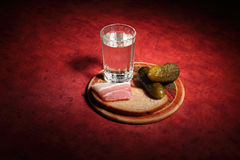 Vodka and Russian snack Stock Photos