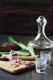 Vodka salada del ruso del aperitivo del tocino foto de archivo libre de regalías