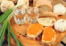 Vodka and sandwich Stock Photography