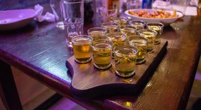 Vodka Shots on a Tray royalty free stock images